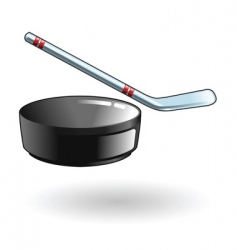 Hockey stick and puck illustration vector