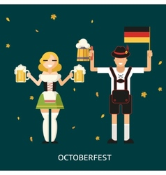 Retro oktoberfest male and female characters in vector