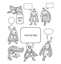 Male superhero sketch with empty speech bubbles vector