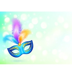 Blue carnival mask with colorful feathers banner vector