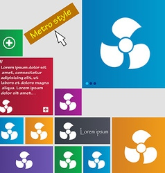 Fans propeller icon sign metro style buttons vector