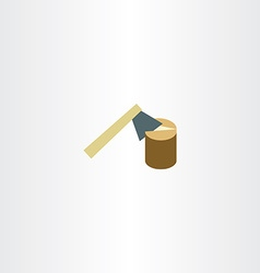 Axe chopping wood flat icon vector