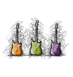 Set of guitars sketch for your design vector