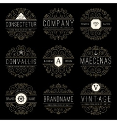 Luxury logo templates set in vintage style vector