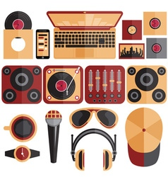 Flat design of dj and music theme vector