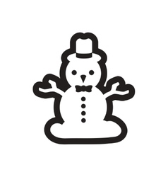 Flat icon in black and white snowman vector