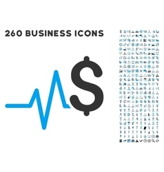 Financial Pulse Icon with Flat Set vector image