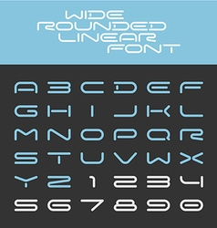 Wide rounded outline sport techno font letters vector