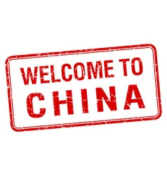 Welcome to china red grunge square stamp vector