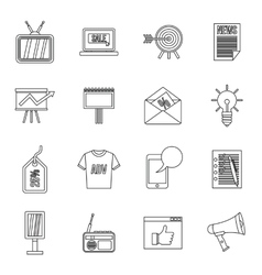 Advertisement icons set outline style vector image