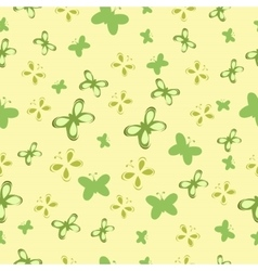 Baby pattern with green butterflies vector