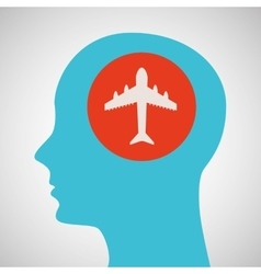 blue silhouette head airplane icon design vector image vector image