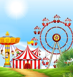 Children having fun at the carnival vector