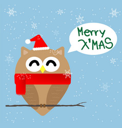 Christmas owl cartoon vector image