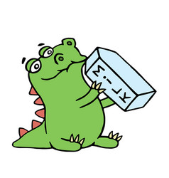 cute dragon is drinking milk isolated vector image