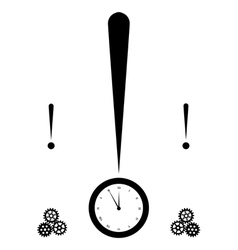 exclamation mark and clock vector image