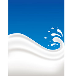 fresh milk splash on blue background vector image vector image