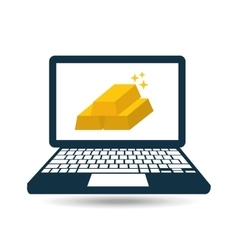 gold on laptop icon vector image