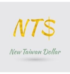 Golden new taiwan dollar symbol vector