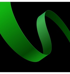 Green fabric curved ribbon on black background vector