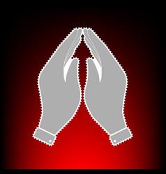 Hand icon prayer symbol postage vector