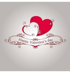 Happy valentine day vintage grey card vector
