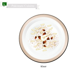 Kheer or palestinian rice pudding with nuts and sp vector