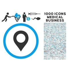 Map Marker Icon with 1000 Medical Business Symbols vector image
