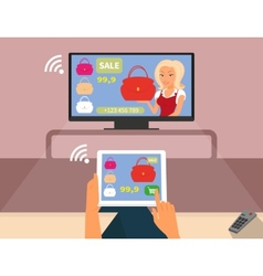 Multiscreen interaction woman is purchasing red vector