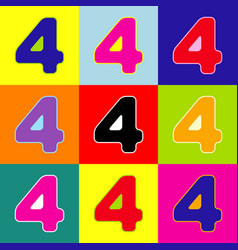 number 4 sign design template element pop vector image
