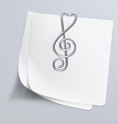Paper clip treble clef vector