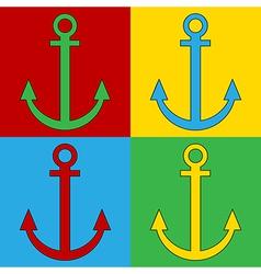 Pop art anchor icons vector