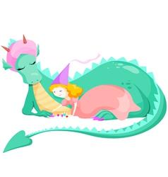Princess and dragon vector