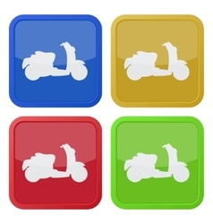 set of four square icons with scooter vector image vector image
