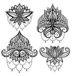 set ornamental lotus flowers vector image vector image