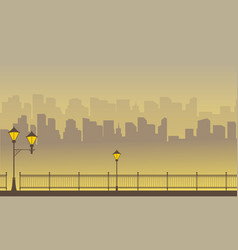 Silhouette of town scenery on yellow background vector
