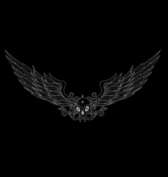 Skull with wings black vector image vector image