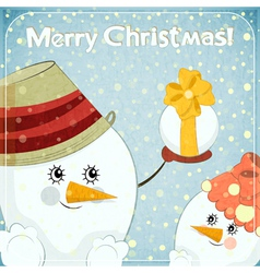 Two snowmen on winter background vector image vector image
