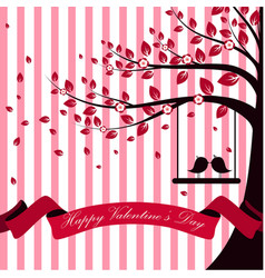 Valentine day with tree autumn and pink ribbon whi vector