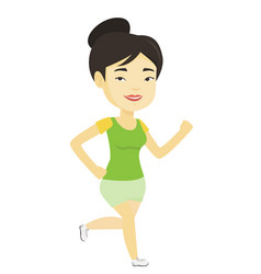 Young sporty woman jogging on the beach vector