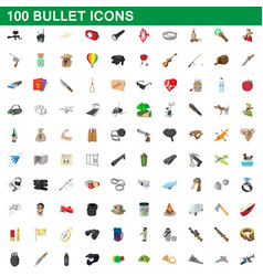 100 bullet icons set cartoon style vector image vector image
