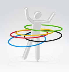 Person rotating rings vector image