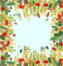 Ornament autumn rowan leaves acorns and birds tits vector