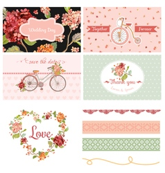 Wedding party hortensia flowers and bicycle theme vector