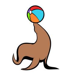 Fur seal circus icon cartoon vector