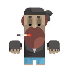 Biker in bandana and leather vest smoking vector