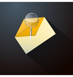 Magnifying glass in yellow envelope icon vector