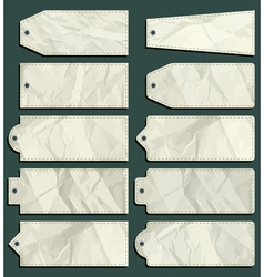 Ten crumple labels over green background vector