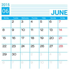 June 2015 calendar page template vector