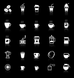 Coffee icons with reflect on black background vector